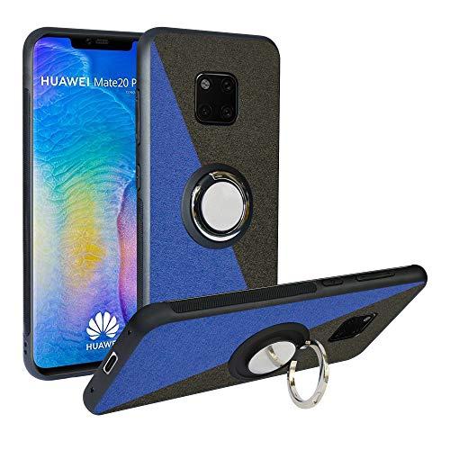 Funda para Huawei Mate 20 Pro, Fashion Design [Antigolpes] con 360 Anillo iman Soporte, Resistente a los arañazos TPU Funda Protectora para Huawei Mate 20 Pro,Blue/Black