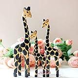 YASEking Pantalla Animales Carpintería Regalo Creativo Conjunto De Pintado a Mano de Tres Jirafa Amarilla H20 / 25 / 31cm Elegante y Hermosa