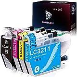 Wolfgray LC3211 LC 3211 Cartuchos de Tinta Compatible para Brother LC3211 LC3213 DCP-J572DW MFC-J491DW MFC-J497DW DCP-J772DW DCP-J774DW MFC-J890DW MFC-J895DW (1Negro/1Cian/1Magenta/1Amarillo)