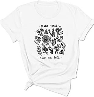 Qrupoad Womens Plant These Save The Bees Funny Garden T-Shirt Causal Cotton Graphic Tees Shirts