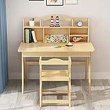 Goodvk Squisita scrivania per Bambini Bambini Media Desk e Sedia in Legno for Bambini Escursioni Camera Student Desk Grande Regalo for Ragazze e Ragazzi (Colore : Beige, Dimensione : 100X50X75CM)