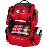 Latitude 64 Luxury E4 Backpack Disc Golf Bag   20+ Disc Capacity   Multiple Storage Pockets   Water Bottle Holder   Frisbee Golf Backpack Bag (Red)