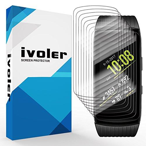 ivoler [8 Stück] Schutzfolie Bildschirmschutzfolie für Samsung Gear Fit 2 Pro, 3D Vollständige Abdeckung [Wet Applied] [Anti-Kratz] [Blasenfrei] HD TPU Weich Folie