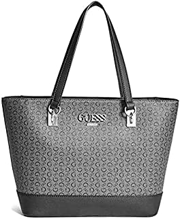 Guess Factory Women's Muze Logo Carryall Stylish Elegant Tote, Hand-Bag/Shoulder-Bag Pebble-Leather – Black