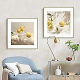 VVBGL Minimalismo nórdico Cuadros de limón Amarillo Poster de Frutas e Impresiones Decoracion de Pared Pinturas para Decoracion de Cocina Decoracion de Restaurante 60x60cmx2 Sin Marco