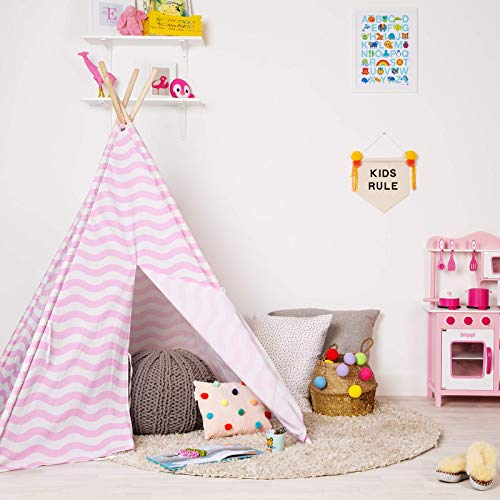 boppi Teepee Canvas Kids Large Outdoor and Indoor Portable Indian Wigwam Childrens Playhouse Play Tent Girls - Pink