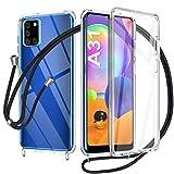 AROYI Funda con Cuerda para Samsung Galaxy A31, Carcasa Transparente 360 Grados Delantera Trasera Case con Colgante Ajustable Collar Correa de Cuello Cordón para Samsung Galaxy A31
