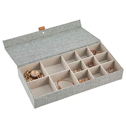 mDesign Joyero – Caja con tapa con 13 compartimentos de tela en 2 tamaños diferentes – Cajas organizadoras para pendientes, collares, pulseras, anillos y relojes – gris oscuro