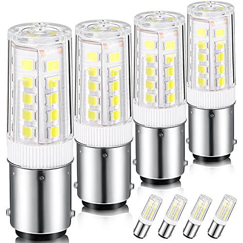 4 Pieces Sewing Machine Light Bulb BA15D LED Bulbs Double Contact Bayonet Base, 4 W Daylight White 6000K AC110-130V Halogen Replacement Bulb for Sewing Machine Light, Reading lamp and Desk Lamp