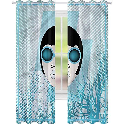 jinguizi Cortinas opacas aisladas térmicas Indie Retro Mujer Gafas de sol W52 x L84 cortinas de ventana para dormitorio