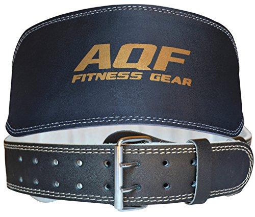 """AQF Cintura in Pelle 6"""" per Sollevamento Pesi, Imbottitura a Supporto Lombare con Pelle Scamosciata e Fibbia a Rullo in Acciaio Fitness Esercizio Anatomico Bodybuilding (M)"""