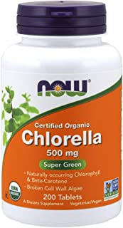 NOW Supplements, Organic Chlorella 500 mg with naturally occurring Chlorophyll, Beta-Carotene, mixed Carotenoids, Vitamin ...