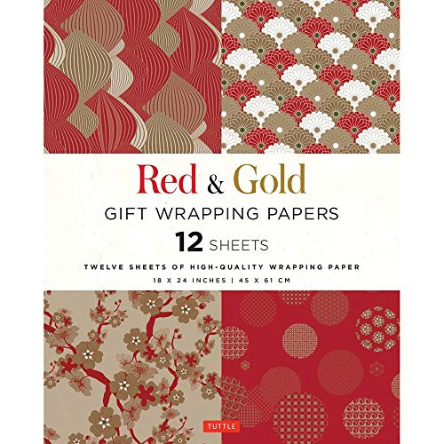 Red & Gold Gift Wrapping Papers 12 Sheets: High-Quality 18 x 24 inch (45 x 61 cm) Wrapping Paper