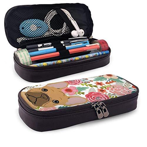 XCNGG Hunde und Rosen PU Leder Pencil Pen Case Beuteltasche mit Reißverschluss Schulmaterial für Student Coin Purse Cosmetic Makeup Bag