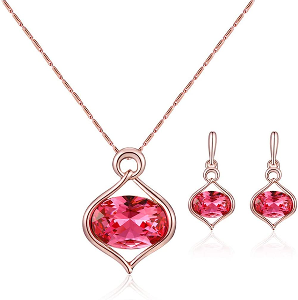 YAZILIND Women's Jewelry Set Love Heart Pendant Necklace and Apple Earrings with Cubic Zirconia Jewelry Gift for Mother's Day