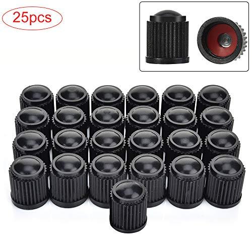 OIZEN 25 Stück Ventilkappen, Kunststoff Auto Ventilkappen für Auto-Reifen, Ventilschafte, Staub-Kappen für Auto, Motorrad, LKW, Fahrrad, Fahrrad (schwarz)