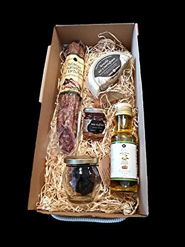 Trüffelset aus Istrien, Kroatien. Geschenkbox mit besten Delikatessen aus Kroatien, Olivenöl mit weißen Trüffel, ganze Trüffel, Trüffelkäse, Trüffelsalami und Honig mit Trüffel. Karlic Tartufi