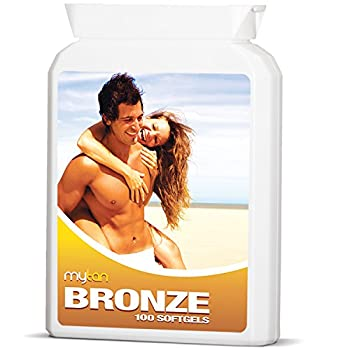 MyTan Bronze Tanning Pills | 100 Softgels | Sunless Tan Supplement | With Astaxanthin Lutein Lycopene And More | Over 5-Week Supply