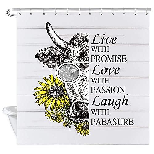 N \ A Divertida vaca girasol granja ganado en gafas y girasoles inspiradores palabras educativas en tablero de madera rústica cortina de tela de poliéster para baño 72 x 72 pulgadas