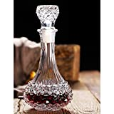 JJCFM Vin Rouge Carafe, Verre sans Plomb Cristal De Diamant Set Vin avec Couvercle, Sake Barrel, Tonneau Vin, Cadeau Vin, Accessoires Vin, Verre À Vin Rouge Bouteille De Vin Séparateur, 650Ml