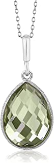 Gem Stone King 925 Sterling Silver Genuine Green Prasiolite Pendant Necklace, 16X12MM Pear Shape, 6.50 Ct with 18 Inch Silver Chain