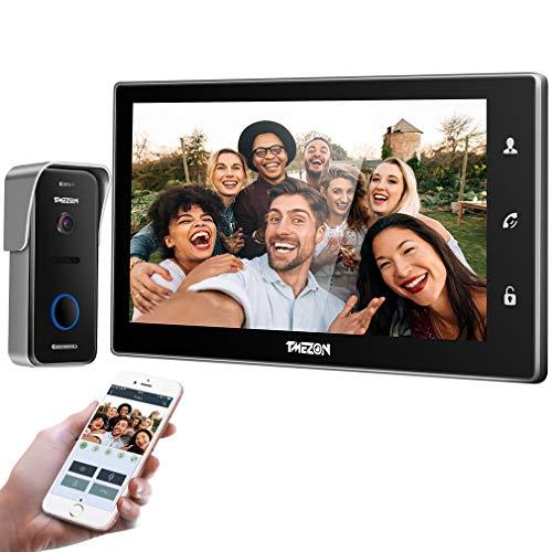TMEZON WiFi videoportero intercomunicador Timbre Sistema de intercomunicación, Monitor WiFi de 10 Pulgadas con cámara Exterior con Cable (1M1C), Pantalla táctil, Control Remoto, desbloqueo de App