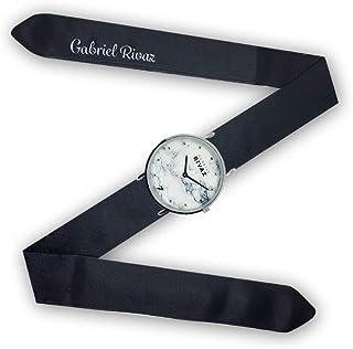 Montre Bracelet Foulard signée Gabriel Rivaz - Bracelet en Soie - Montre Fond marbré - Mécanisme Japonais - Noir