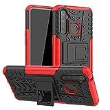 Dedux Funda OPPO Realme 5 Pro, [Tough Armor Series] Robusta Armadura Híbrida TPU/PC, Protector Interno TPU a Prueba de Golpes + Soporte Plegable Funda, Rojo