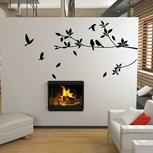 Tree and Bird Wall Stickers/Decals (Black)