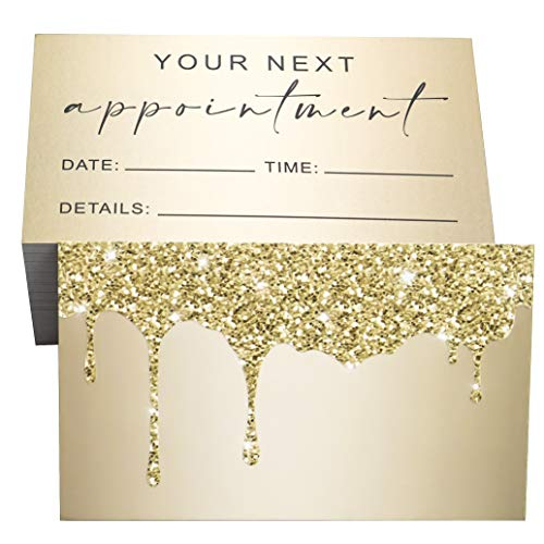 RXBC2011 Appointment Reminder Cards Bling Glitter Drips for Beauty Makeup Hair Nail Salon Barber Shop Restaurants Therapist Pack of 100 Gold