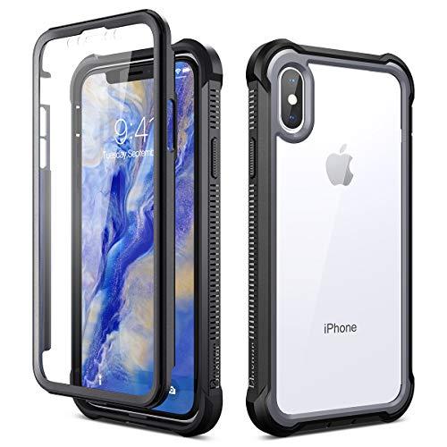 Dexnor Cover per iPhone X iPhone XS (5.8''), Custodia di Protezione a 360 Gradi, [Antiurto] [Leggero] Pannello Posteriore TPU Trasparente, con Protezione per Lo Schermo - Nero
