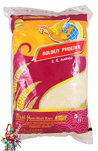 yoaxia Marke Set - 5 kg GOLDEN PHOENIX Thai Duftreis Langkorn, Jasmine Rice, plus ein kleines Glückspueppchen - Holzpueppchen