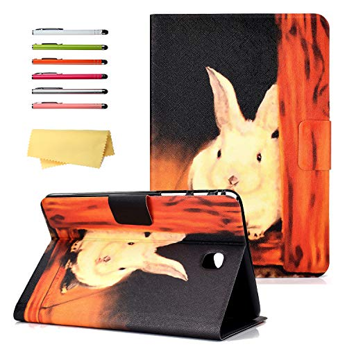 UUcovers Galaxy Tab A 8.0 2015 Case SM-T350/T355/P350/P355 with Auto Wake/Sleep Card Pockets Stand Smart PU Leather Folio Wallet Magnetic Cover for Samsung Tab A 8.0 T350/P350 Tablet, Rabbit Orange