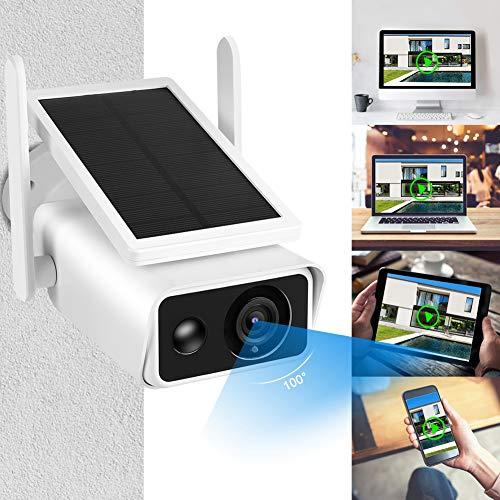 Zouminyy 1080P HD WiFi Balas Cámara Panel solar Exterior Impermeable PIR Intercomunicador Seguridad CCTV