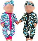ZITA ELEMENT 2 Sets Baby Doll Clothes Outfits Jumpsuits with 2 Headbands for 14-16 Inch Baby Doll, 43cm New Baby Doll, 15 Inch Baby Doll and American 18 Inch Girl Dolls Clothes and Accessor