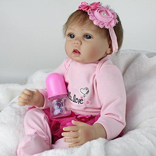 QXMEI 22 Zoll Wiedergeburt Puppe Simulation Baby Tuch Silikon Sü Kinder Spielzeug mädchen Geburtstagsgeschenk 55cm