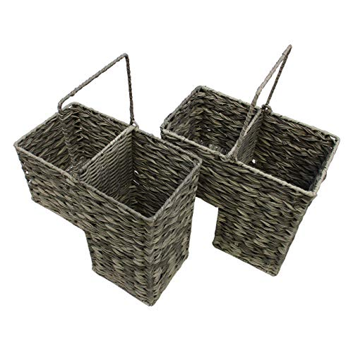 Trademark Innovations 14.5' Plastic Wicker Storage Stair Basket Set with Handles (Set of 2)