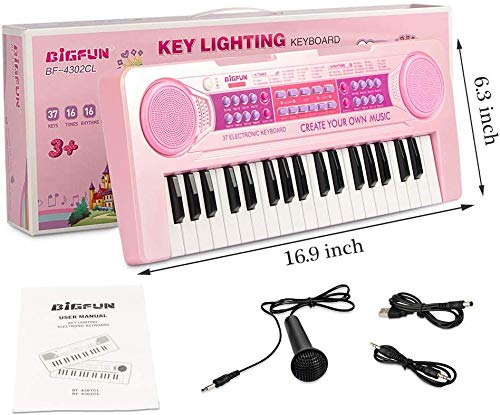 munchkin land 37 keys multi-function charging electronic kids piano keyboard educational toy organ for kids toddlers children with microphone,Eco friendly plastic (pink)- Pack of 1