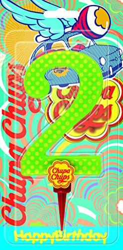 Cereria di Giorgio Candela Compleanno Gigante Chupa Chups Numero 2 con Supporto, CH00002_62