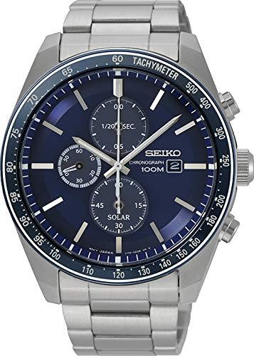 Seiko herenhorloge Solar chronograaf met metalen armband SSC719P1