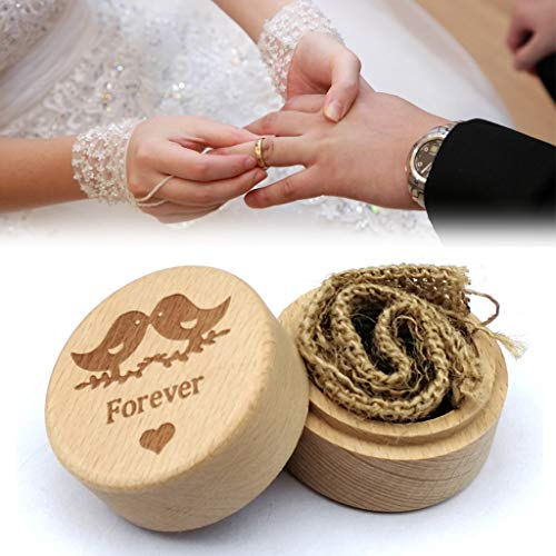 Emptystar Ring Doorbell - Handmade Wooden Ring Box Ring Storage Rings Organizer Earrings Coin Jewelry Case Jewelry Gift Box for Proposal Engagement Wedding - Engagement Ring Holder (I)