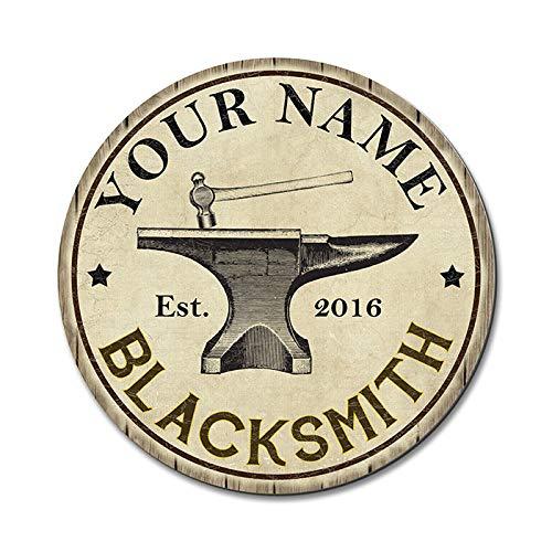 PotteLove Personalized Blacksmith Sign Round Metal Sign Man Cave Wall Decor Gift Custom, Wall Art Decor