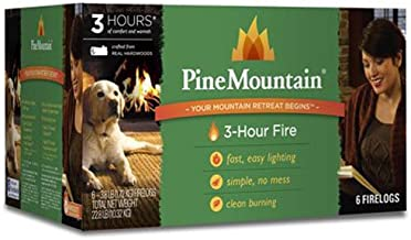 Pine Mountain Traditional 3-Hour Firelog, 6 Logs Long Burning Firelog for Campfire, Fireplace, Fire Pit, Indoor & Outdoor Use