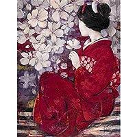 日本の桜の女の子5ddiyフルスクエアダイヤモンド絵画女性ダイヤモンド刺繡クロスステッチリビングルームの装飾
