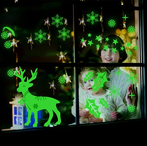 Pegatinas Luminosas de Navidad, Pegatinas de Renos de Copo de Nieve Decoraciones Navideñas Pegatinas de Copo de Nieve Adornos de Vidrio para Ventanas Pegatinas Luminosas Electrostáticas…