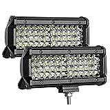 2 Piezas LED 7' 6500K 288W 9-30V 4 Filas 8D Lente 96 LED Barra OFF-ROAD Light Bar Proyector Luz Trabajo Punto Luz Niebla Faros Niebla Tractor Camiones SUV Barco Cosechadora