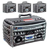 80's and 90's Decades Inflatable Boom Box Cooler (24' W x 16' H) and 3 Boom Box Party Favor Table Centerpiece Decorations