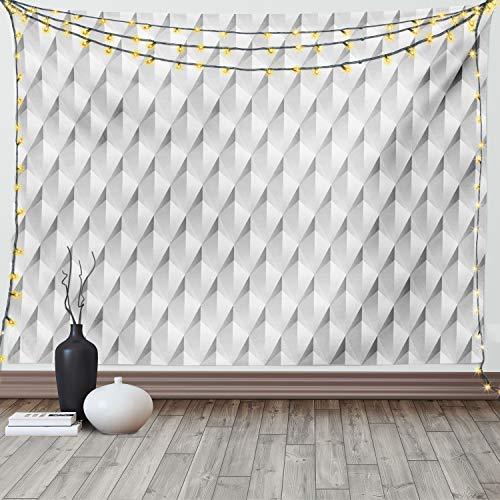 Lunarable Wandteppich, King Size, abstrakte Rhombus-Dreiecke, mit modernem Konzept, Wandbehang, Tagesdecke, Wanddekoration, 264,2 x 223,5 cm, Grau / Weiß