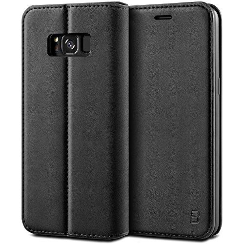 BEZ® Samsung Galaxy S8 Plus Hülle, Handyhülle Kompatibel für Samsung Galaxy S8 Plus Tasche, Flip Case Cover Schutzhüllen aus Klapphülle mit Kreditkartenhaltern, Ständer, Magnetverschluss - Schwarz