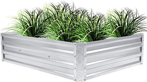 Z-DYQ Cama de jardín levantada Cama de plantación de Hierro al Aire Libre Plateado Caja de plantador de Camas de jardín Elevado de Metal para Verduras Flores Hierbas Plantas